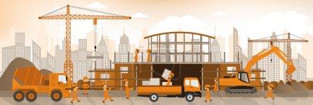Illustration pour Illustration vectorielle de la construction du nouveau bâtiment - image libre de droit