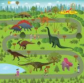 """Постер, картина, фотообои """"парк динозавра"""""""