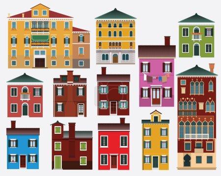 Illustration pour Illustration vectorielle de maisons européennes (Venise, Burano ) - image libre de droit
