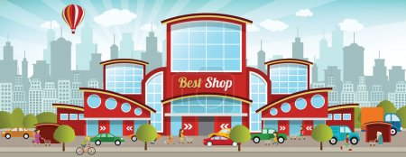 Illustration for Vector illustration of shopping center in the city - Royalty Free Image