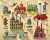 Factory - buildings and workers
