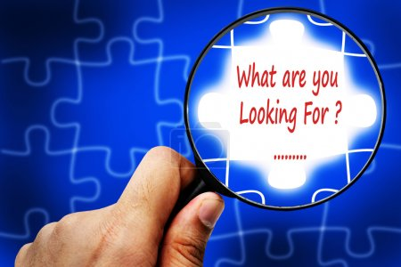 What are you Looking For word. Magnifier and puzzles.