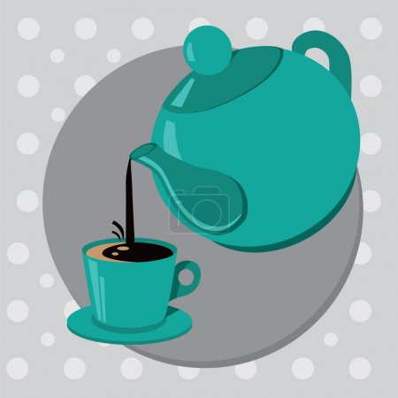 Teapot and cup of tea or coffee.Vector illustration
