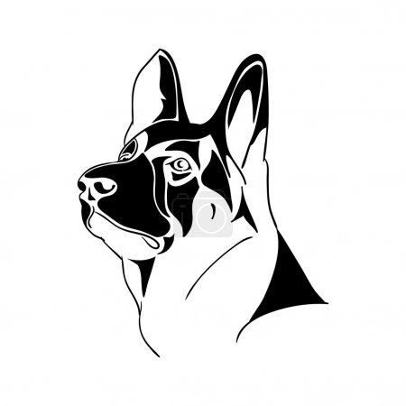 Portrait German Shepherd dog - black and white vector illustration