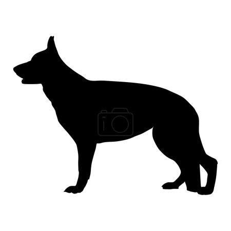 Black silhouette of German Shepherd dog. Vector illustration