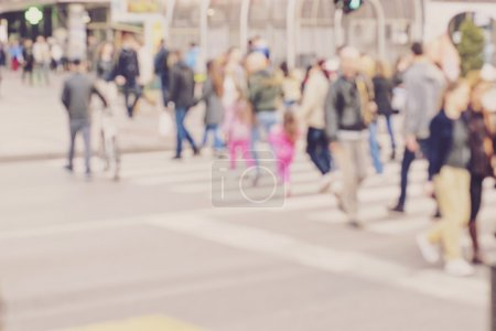 Photo for Pedestrian on zebra in motion blur - Royalty Free Image