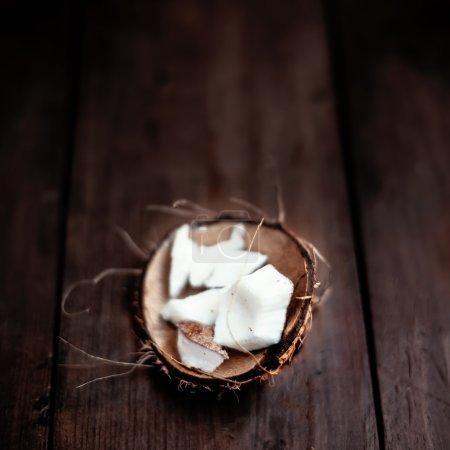 Coconut  pieces close up