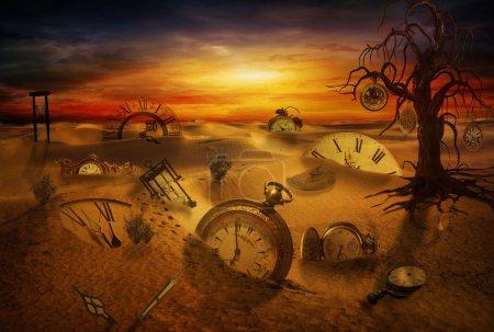 Photo pour Manipulation informatique de montres fantastiques perdues dans le désert - image libre de droit