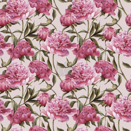 Photo for Seamless vintage floral watercolor background with pink peonies - Royalty Free Image