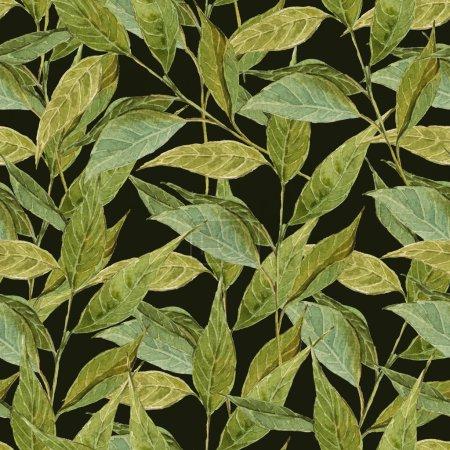 Foto de Fondo de acuarela sin costuras con ramitas y hojas, sandía, ilustración de acuarela . - Imagen libre de derechos
