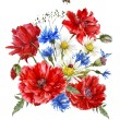 Постер, плакат: Summer Vintage Watercolor Greeting Card with Blooming Red Poppies