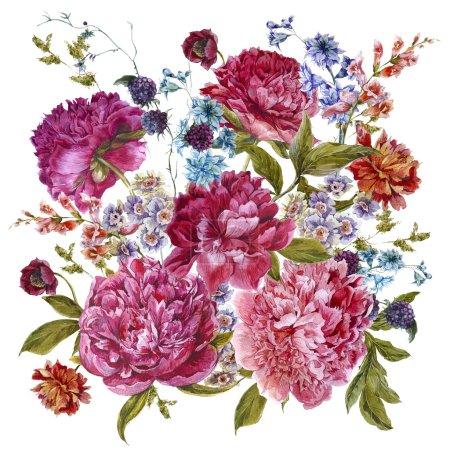 Photo pour Doux bouquet floral d'été avec pivoines de Bourgogne, jacinthes, mûres et fleurs sauvages dans un style vintage, carte de souhaits botanique, illustration aquarelle sur fond blanc - image libre de droit