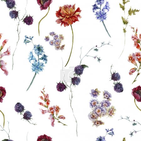 Photo for Watercolor floral vintage seamless pattern with wildflowers - Royalty Free Image
