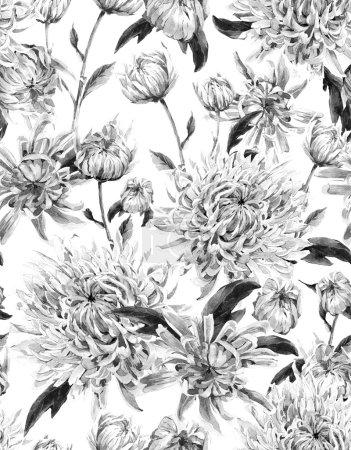 Photo pour Monochrome sans couture Vintage Aquarelle Fond Floral avec Chrysanthèmes. Illustration aquarelle - image libre de droit