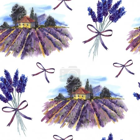 Seamless pattern with landscape and lavender