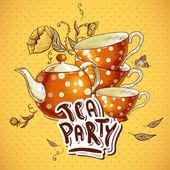 Tea party Pozvánka poháry a pot