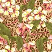 Bezešvé vzor s exotickými květinami