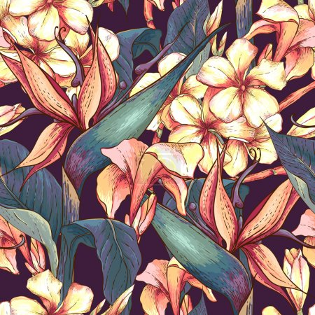 Illustration for Tropical seamless pattern with exotic flowers. Bird of Paradise Background - Royalty Free Image