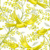 Seamless Spring Pattern with Sprig of Mimosa and Yellow Bird