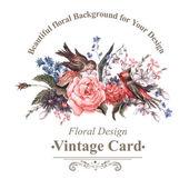 """Постер, картина, фотообои """"Старинные открытки с цветами и птицами."""""""