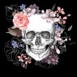 Skull and Flowers Day of The Dead, Vintage Vector ...