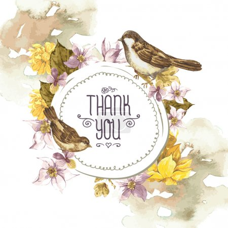 Illustration for Floral Retro Card with Narcissus, Wildflowers and Bird Sparrows in Vintage Style with Place for Your Text, Watercolor Vector Illustration. - Royalty Free Image