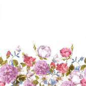 "Постер, картина, фотообои ""Floral Seamless Watercolor Border with Roses"""