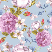 Gentle Floral Seamless Vintage Background with Roses Wildflowers Peonies and  Narcissus Watercolor Vector Illustration