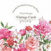 """Постер, картина, фотообои """"Винтажные акварель открытка с цветущими цветами. Розы, полевыми цветами и пионы"""""""