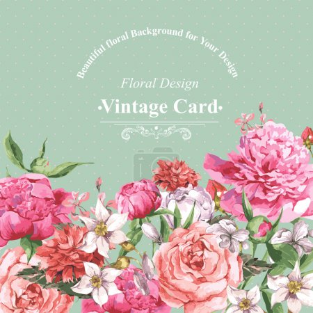 Illustration for Vintage Watercolor Greeting Card with Blooming Flowers. Roses, Wildflowers and Peonies, Vector Illustration - Royalty Free Image