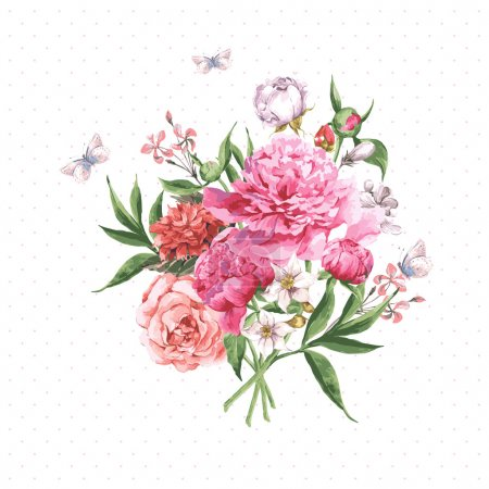 Illustration for Vintage Watercolor Greeting Card with Blooming Flowers and Butterflies. Roses, Wildflowers and Peonies, Vector Illustration - Royalty Free Image