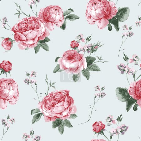 Illustration for Vintage Floral Seamless Background with Blooming English Roses, Vector watercolor Illustration - Royalty Free Image