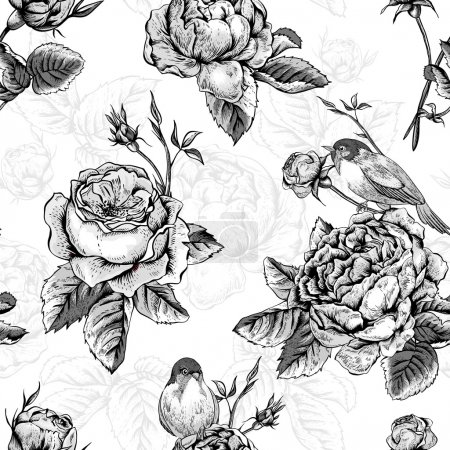 Floral seamless pattern with roses and birds