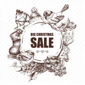 Big Christmas Sale greeting card with Hew Year elements