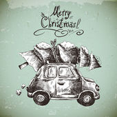 Vintage vector winter greeting card with retro car