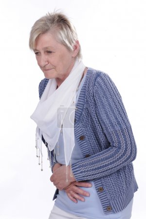 Older woman with tummy ache