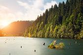 Mountain lake with sunset