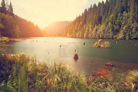 Photo for Mountain lake on sunset background - Royalty Free Image