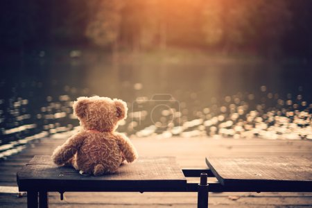 Photo for Teddy bear in old bag on wooden pier - Royalty Free Image
