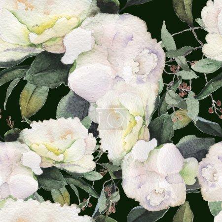 Photo pour Aquarelle de fleurs de pivoine motif transparent rose floral - image libre de droit
