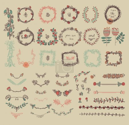 Illustration for Big set of floral graphic design elements graphic, wreaths, ribbons and labels - Royalty Free Image