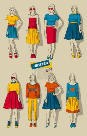 vector illustration of fashion girls hipsters set
