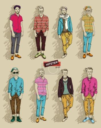 Illustration pour Homme en vêtements de mode isolé sur fond clair ensemble illustration vectorielle - image libre de droit