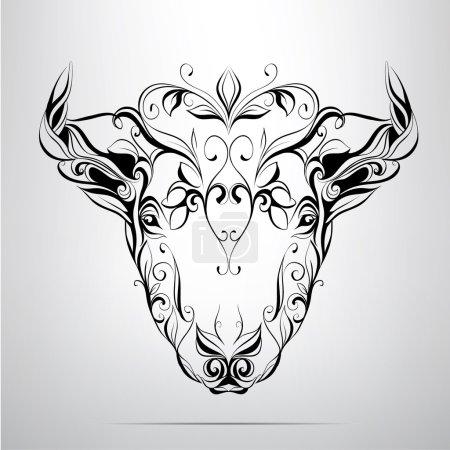 Head of bull in  ornament