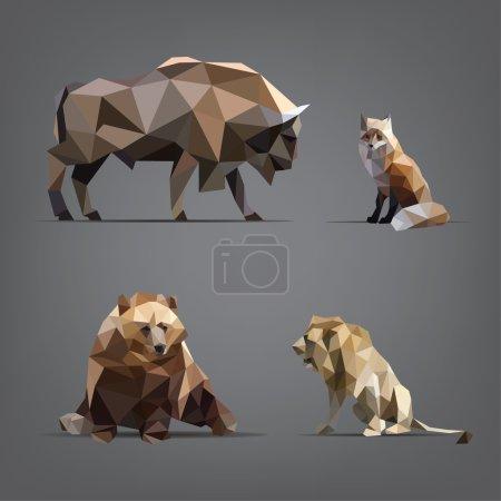 Illustration pour Ensemble isolé d'animaux sauvages dans le style géométrique - image libre de droit