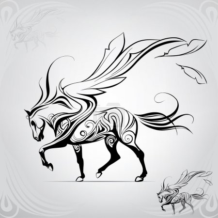 Illustration for Pegasus walking against the wind,vector illustration - Royalty Free Image
