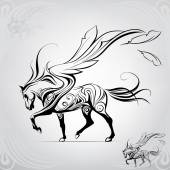 Pegasus walking against the windvector illustration