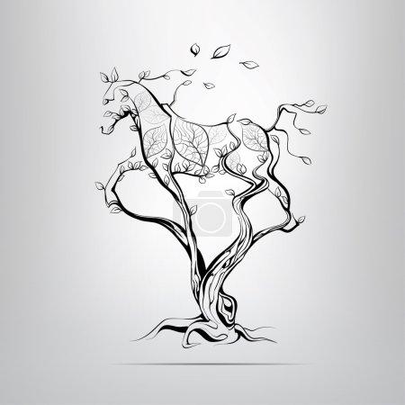 Illustration pour Silhouette d'un cheval de course dans un arbre. illustration vectorielle - image libre de droit