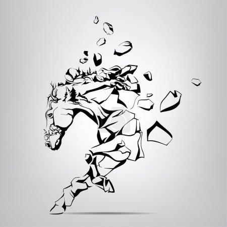 Illustration pour Silhouette d'un mustang qui coule des rochers. Illustration vectorielle - image libre de droit