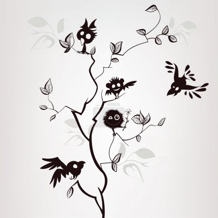 Pattern with birds on tree